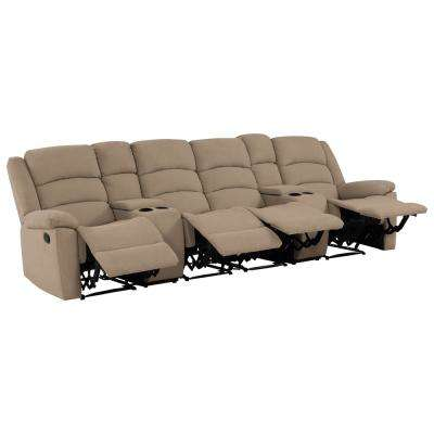 4-Seat Wall Hugger Recliner Sofa with Two Storage Consoles and USB Ports in Barley Tan Plush Low-Pile Velvet