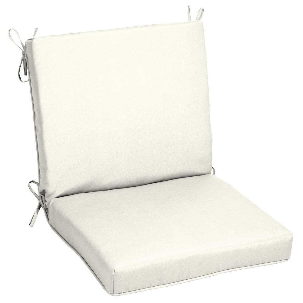 Oak Cliff 22 x 40 Sunbrella Canvas White Mid Back Outdoor Dining Chair Cushion