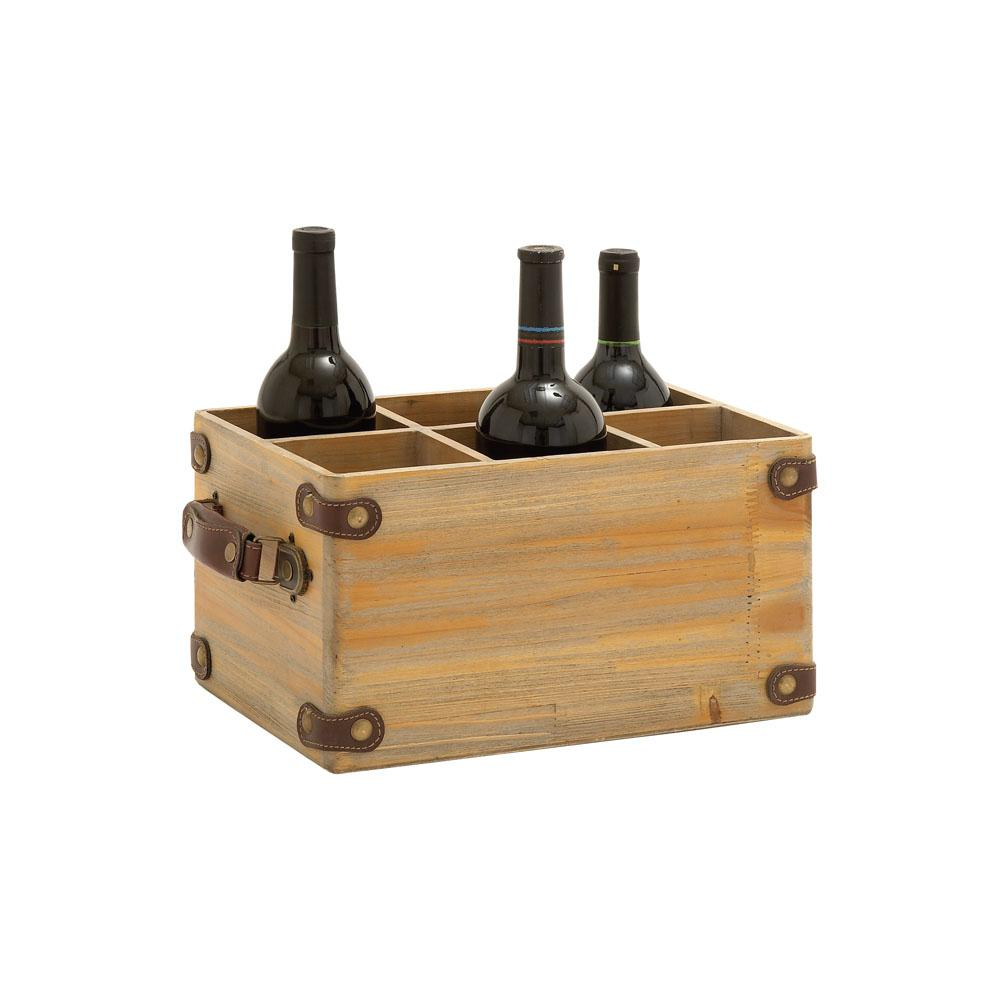 6-Bottle Brown Wood and Leather Wine Caddy