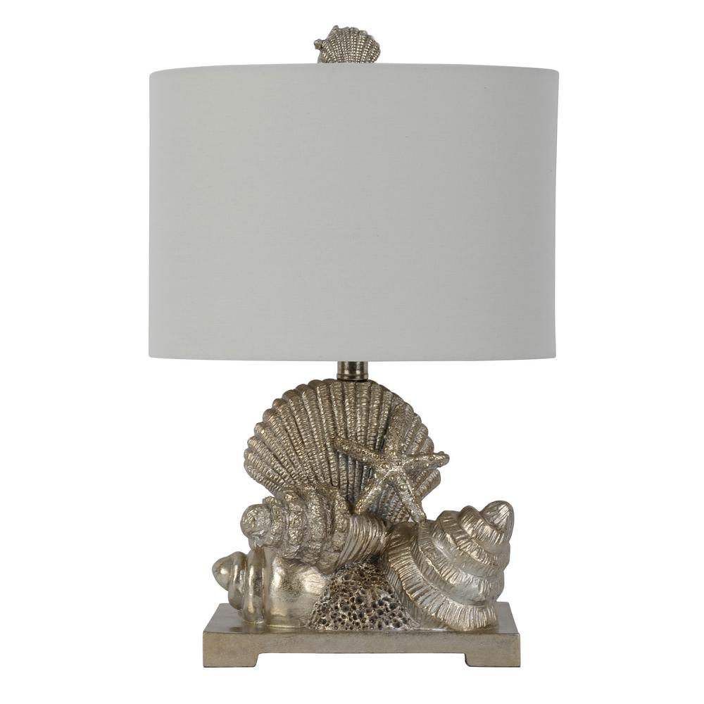 Cordelia 20 in. Silver Table Lamp with Linen Shade