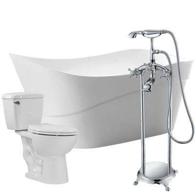 Kahl 67 in. Acrylic Flatbottom Non-Whirlpool Bathtub with Tugela Faucet and Author 1.28 GPF Toilet