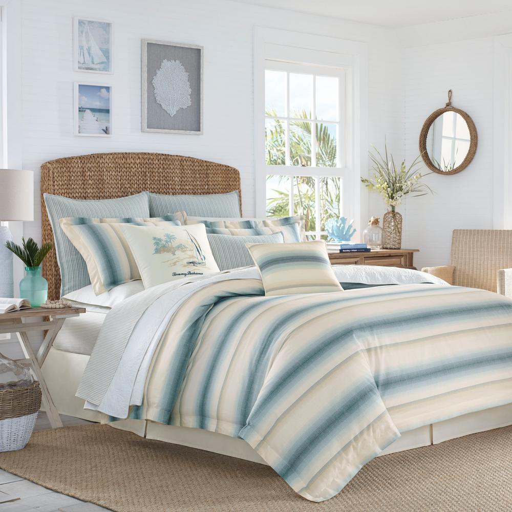 Tommy Bahama La Prisma 4 Piece Stripe Blue California King Comforter