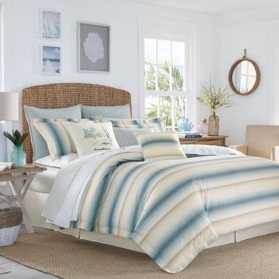 La Prisma 3-Piece Stripe Blue Full/Queen Duvet Cover Set