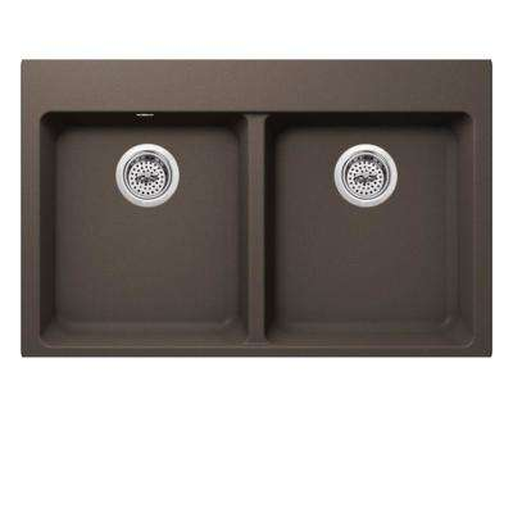 Dual Mount Quartz 33 in. 50/50 Double Bowl Kitchen Sink in Mocha Brown