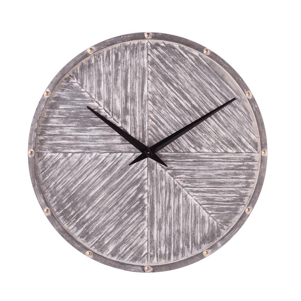 Helenna Washed Gray Round Hanging Wall Clock