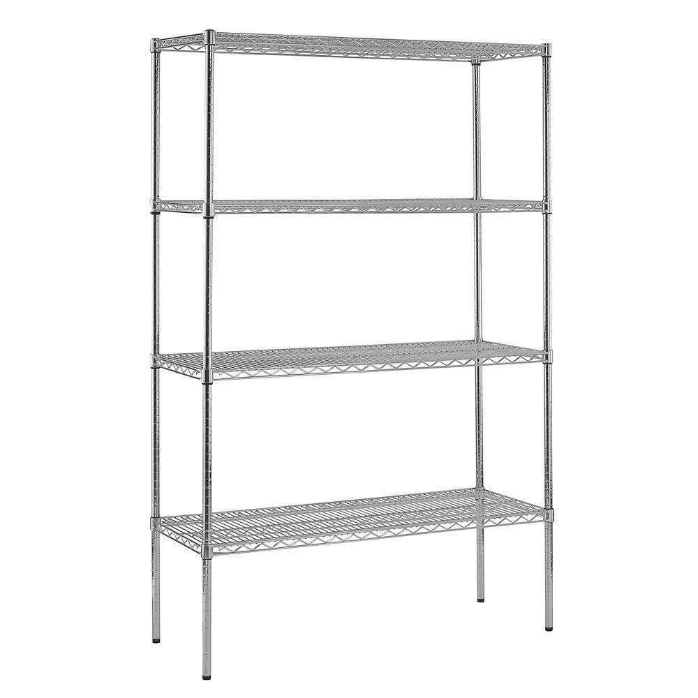 86 in. H x 48 in. W x 18 in. D 4-Shelf Chrome Wire Shelving Unit