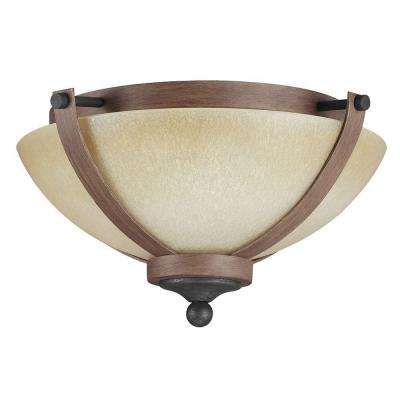 Corbeille 15. in. W. 2-Light Weathered Gray and Distressed Oak Ceiling Flush Mount with Creme Parchment Glass