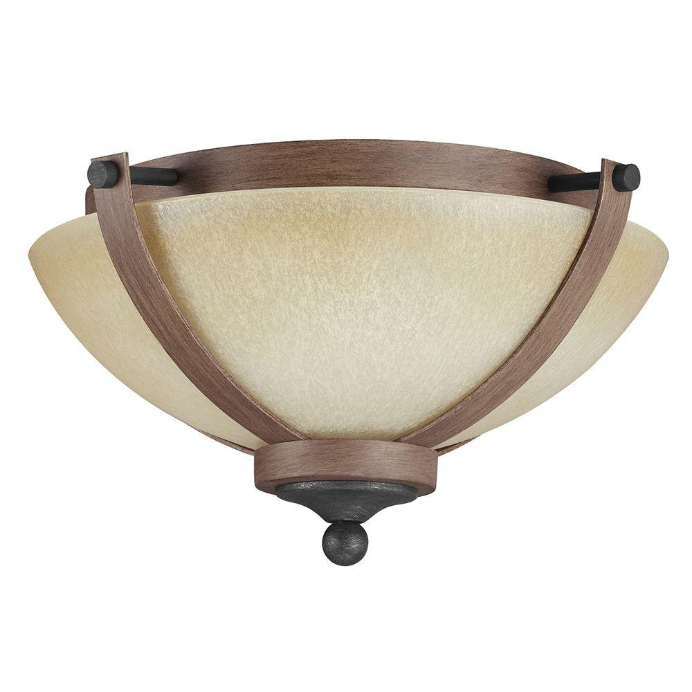 Corbeille 2-Light Stardust Ceiling Flushmount with Creme Parchment Glass