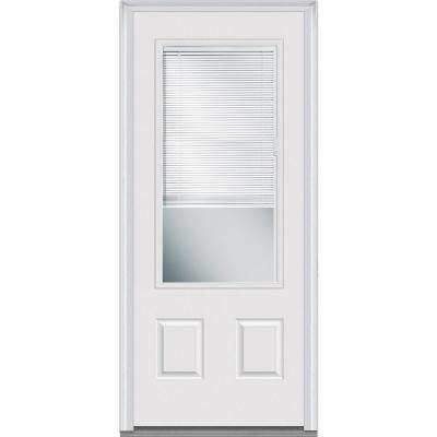 36 in. x 80 in. Internal Blinds Right-Hand Inswing 3/4 Lite 2-Panel Clear Primed Fiberglass Smooth Prehung Front Door