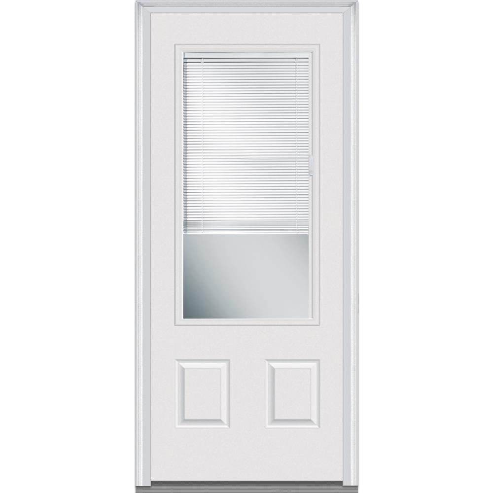 MMI Door 36 in. x 80 in. Internal Blinds Right-Hand Inswing 3/4 Lite 2-Panel Clear Primed Fiberglass Smooth Prehung Front Door