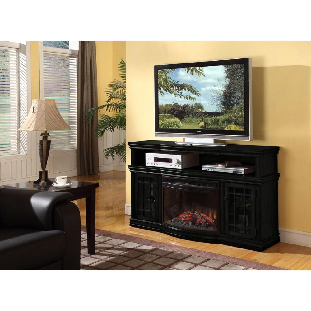 Muskoka Dwyer 57 in. Media Console Electric Fireplace in Espresso-DISCONTINUED