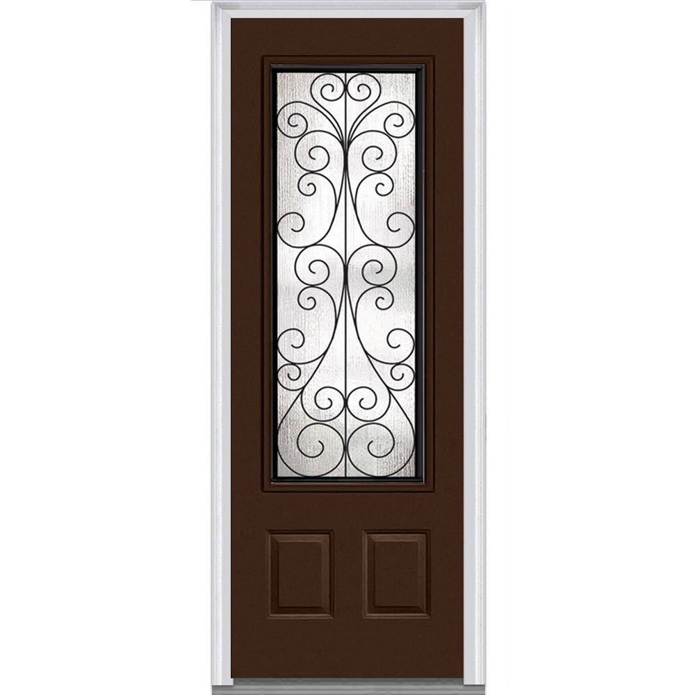36 in. x 96 in. Camelia Right-Hand 3/4 Lite 2-Panel Classic