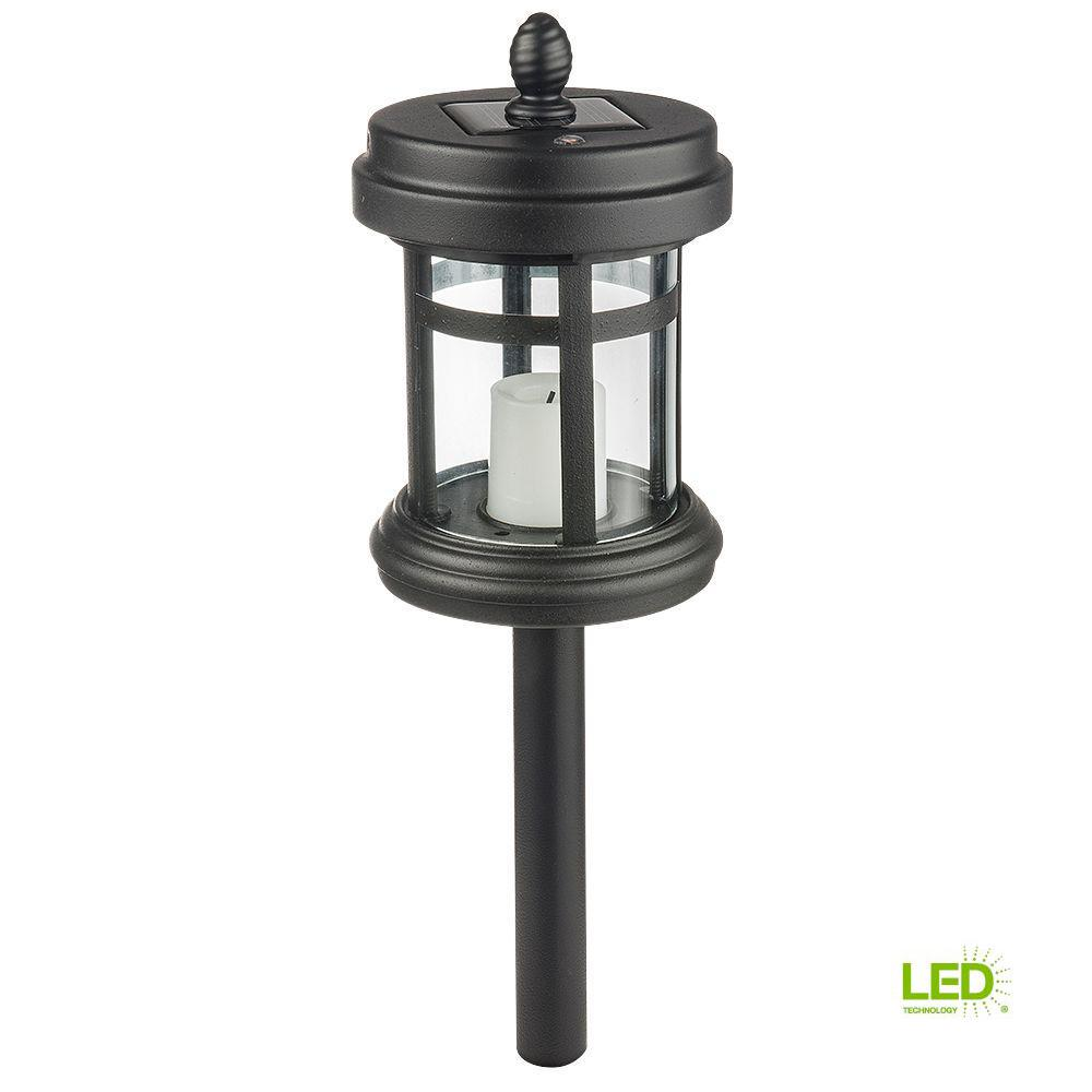 Hampton Bay Solar Black Outdoor Integrated Led Cast Aluminum Landscape Path Light With Clear Gl And