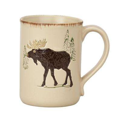 Rustic Retreat 12 oz. Tan Ceramic Moose Coffee Mug (Set of 4)