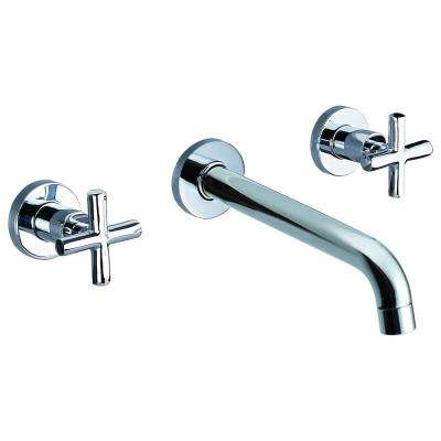 8 in. Widespread 2-Handle Wall Mount Bathroom Faucet in Polished Chrome