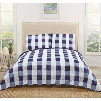 Everyday Blue Buffalo Plaid King Quilt Set