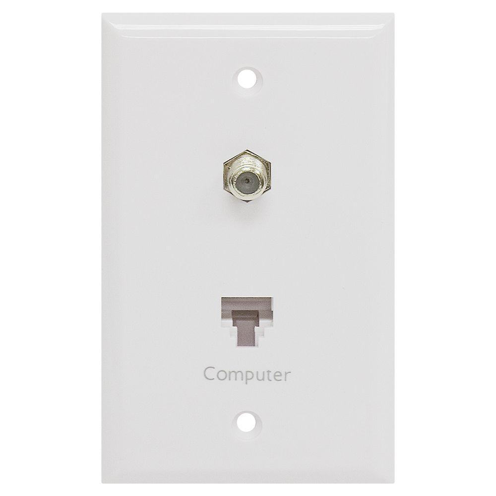 GE 1 Network and 1 Coax Combination Wall Plate - Ivory