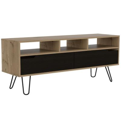 Aster 54 in. x 22 in. Natural Wood 2-Door Media Console with 5-Storage Compartments