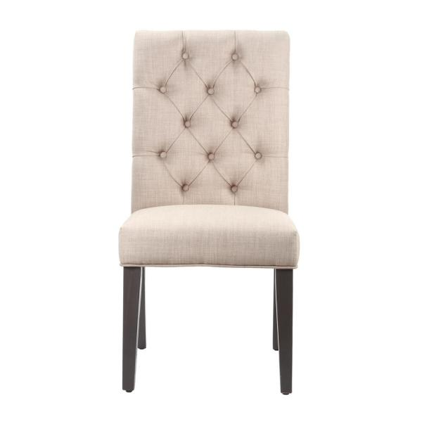 Kathryn Toast Linen Tufted Parsons Dining Chair (Set of 2)