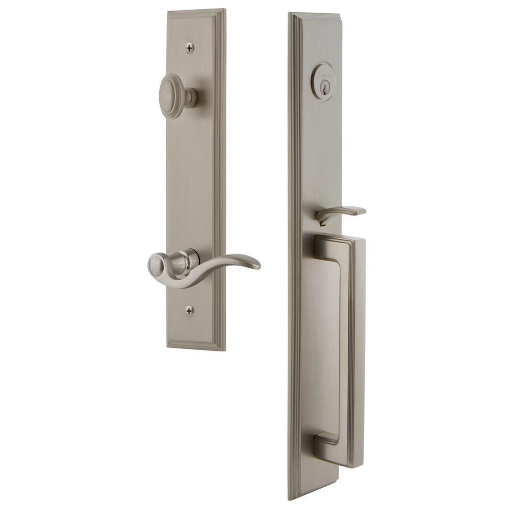 Grandeur Carre Satin Nickel 1-Piece Door Handleset with D Grip and Bellagio Lever