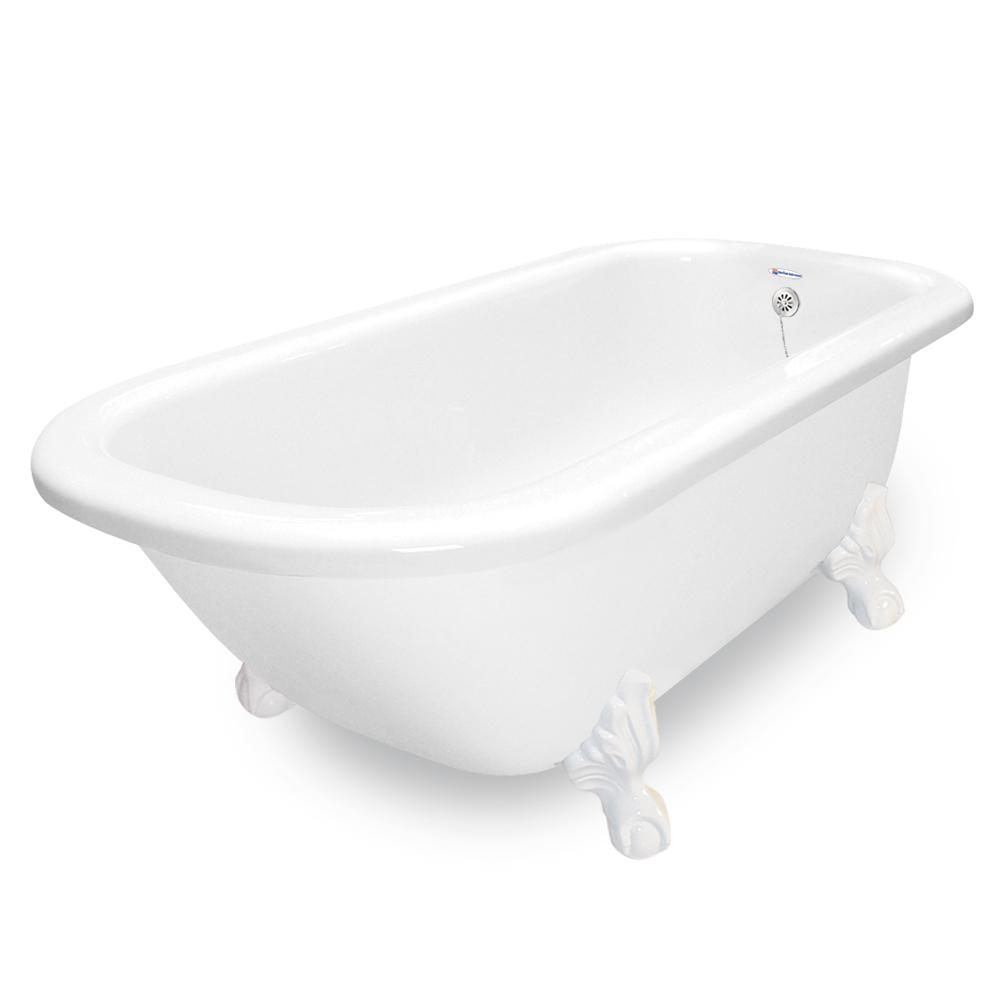 67 in. AcraStone Classic Clawfoot Non-Whirlpool Bathtub and Feet in White