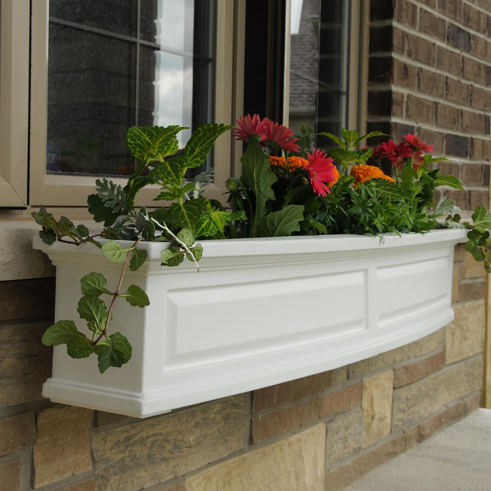 5 ft. Nantucket White Plastic Window Box