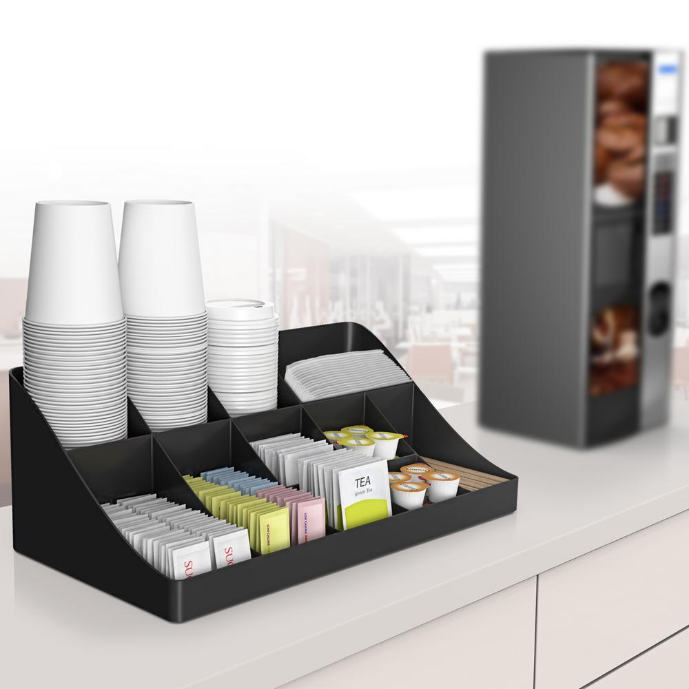 11-Compartment Black Breakroom Condiment Organizer
