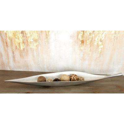 31 in. W x 3 in. H Silver Aluminum Leaf-Shaped Decorative Bowl with Solid Stem Handle and Ball Feet