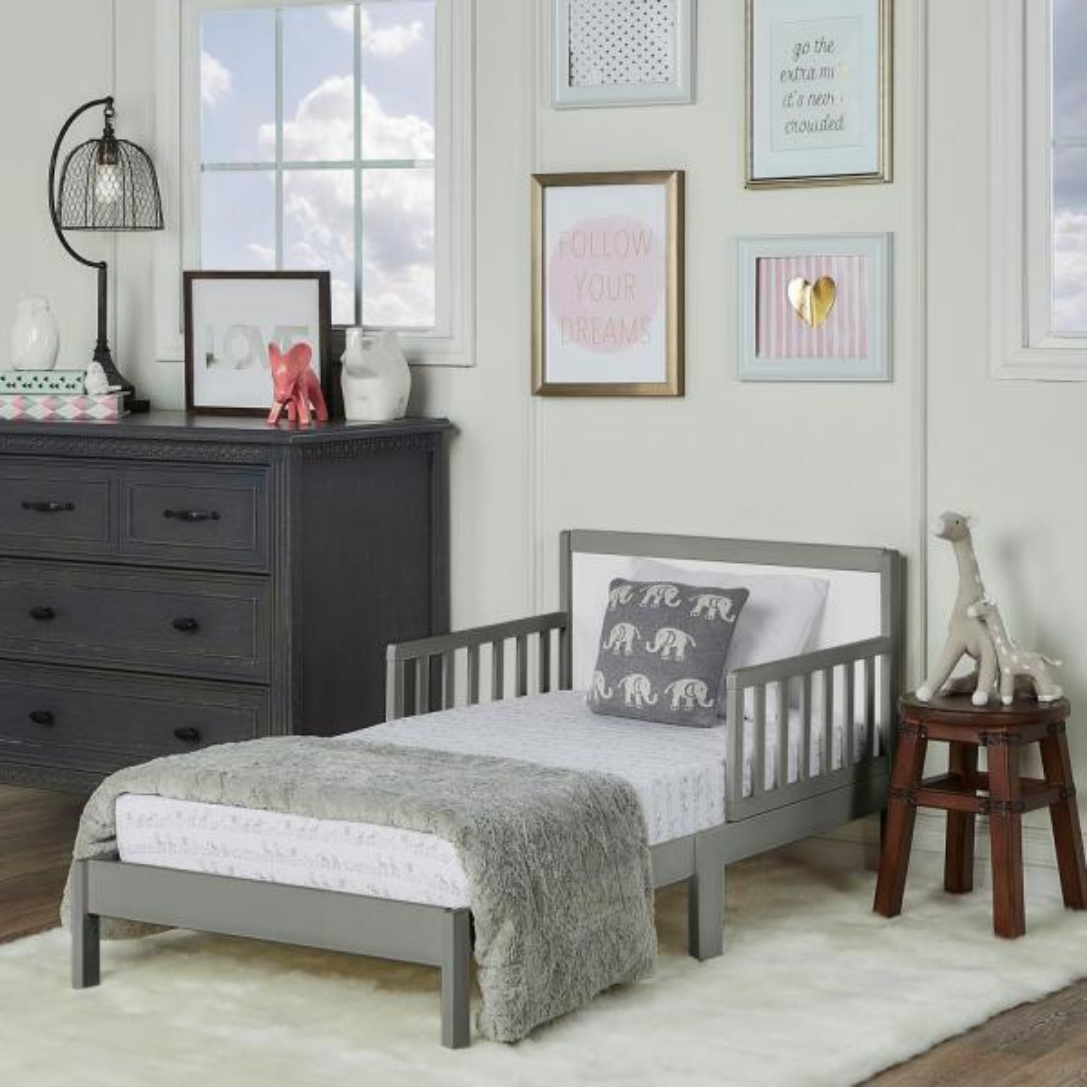 Brookside Steel Grey And White Toddler Adjustable Bed