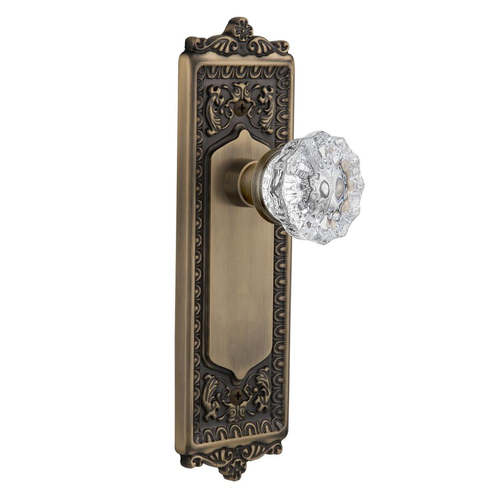 Antique glass door knobs Old Style Nostalgic Warehouse Egg And Dart Plate Double Dummy Crystal Glass Door Knob In Antique Brass The Home Depot Nostalgic Warehouse Egg And Dart Plate Double Dummy Crystal Glass