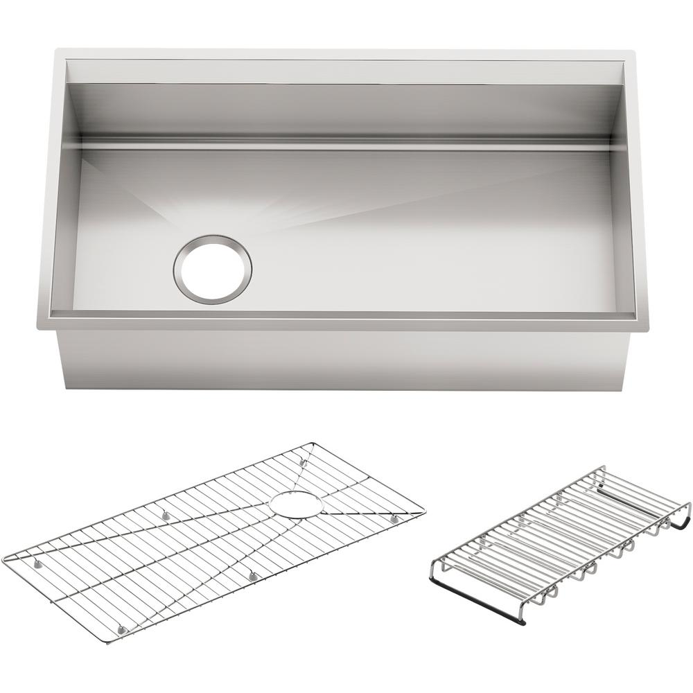 Kohler 8 Undermount Stainless Steel 33 In Single Bowl Kitchen Sink With Included Accessories K 3673 Na The Home Depot