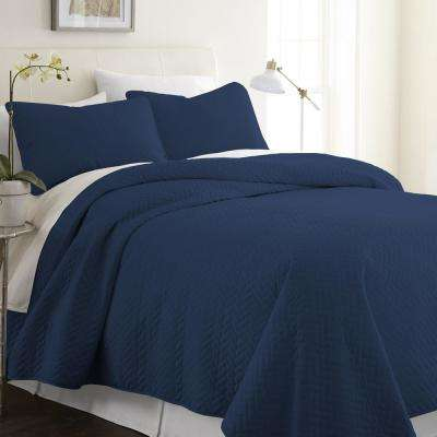 Herring Navy King Performance Quilted Coverlet Set
