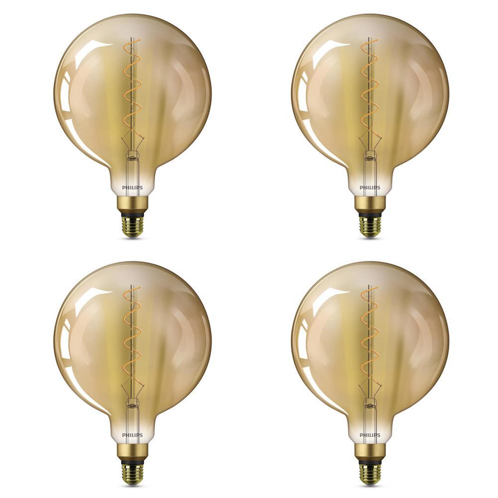 40-Watt Equivalent G25 Dimmable Indoor/Outdoor Vintage Edison LED Globe Light Bulb Amber Warm White (2000K) (4-Pack)