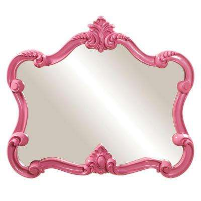28 in. x 32 in. Glossy Pink Whimsical Framed Mirror
