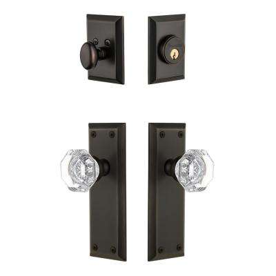 Fifth Avenue Plate 2-3/8 in. Backset Timeless Bronze Chambord Crystal Door Knob with Single Cylinder Deadbolt
