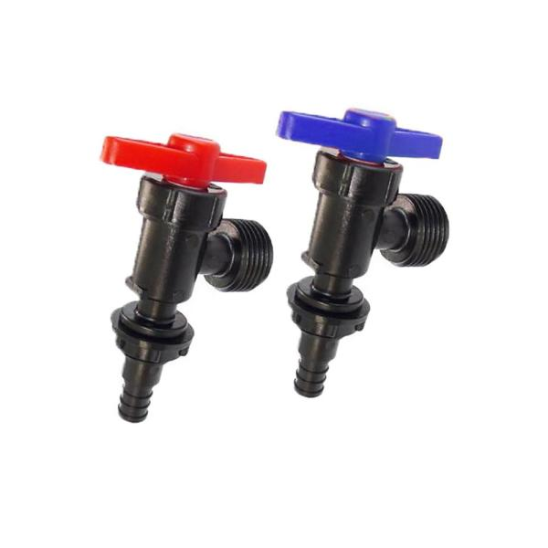 1/2 in. Plastic PEX Barb x 3/4 in. Male Hose Thread Washing Machine Valve Red/Blue (2-Pack)