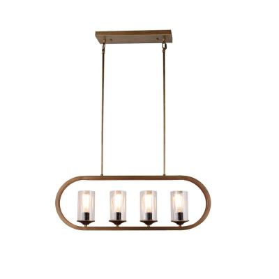 4-Light Candle-Style Iron Frame Chandelier in Antique Bronze finish with Clear Glass shades