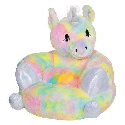 Multicolored Children's Plush Rainbow Unicorn Character Chair