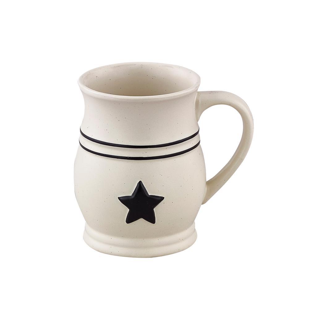 Country Star 20 oz. Cream Cermaic Coffee Mug (Set of 4)