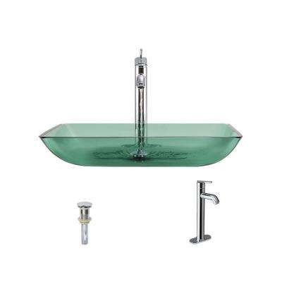 Glass Vessel Sink in Emerald with 718 Faucet and Pop-Up Drain in Chrome
