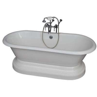 5.6 ft. Cast Iron Double Roll Top Tub in White with Polished Chrome Accessories