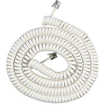 25 ft. Coil Cord Phone Handset, White