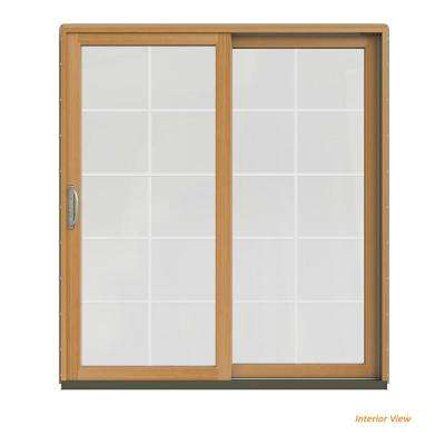 72 in. x 80 in. W-2500 Contemporary Desert Sand Clad Wood Right-Hand 10 Lite Sliding Patio Door w/Stained Interior