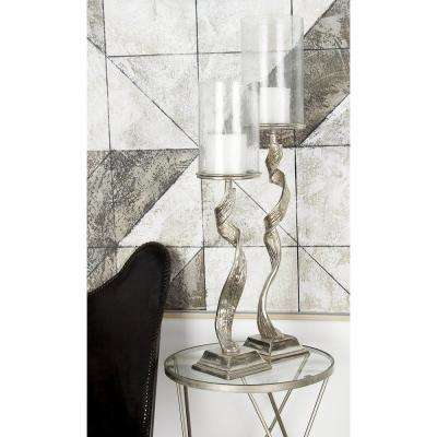 30 in. Silver Aluminum and Clear Glass with Twisted Post Hurricane Candle Holder