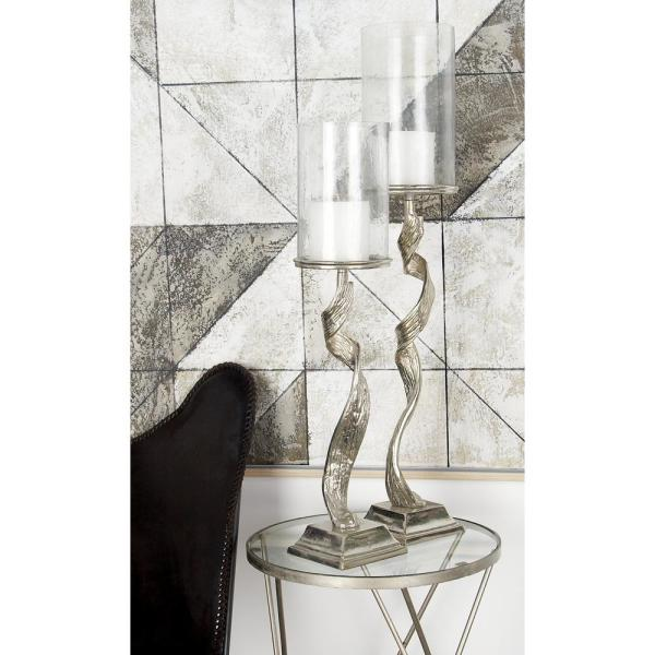 Litton Lane 30 in. Silver Aluminum and Clear Glass with Twisted
