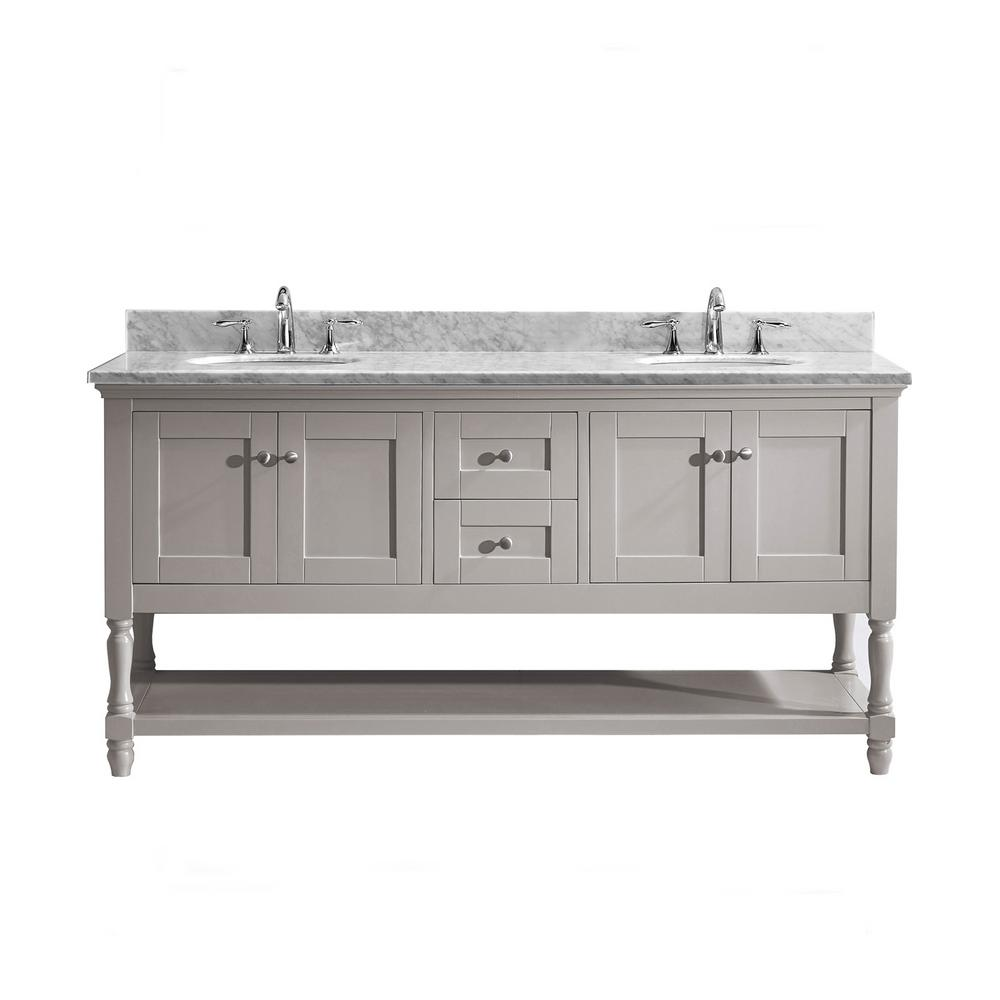 Virtu USA Julianna 72 in. W Bath Vanity in Gray with Marble Vanity Top in White with Round Basin