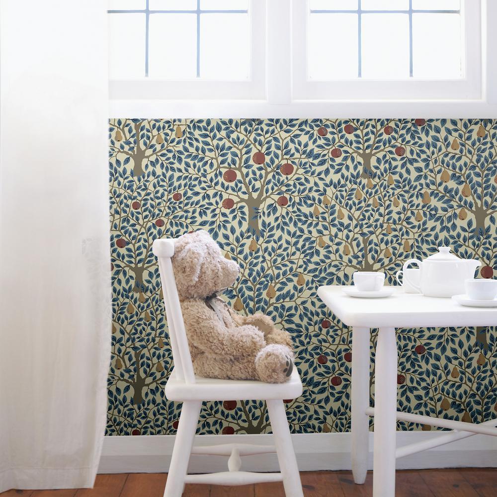 A-Street Pomona Blue Fruit Tree Wallpaper