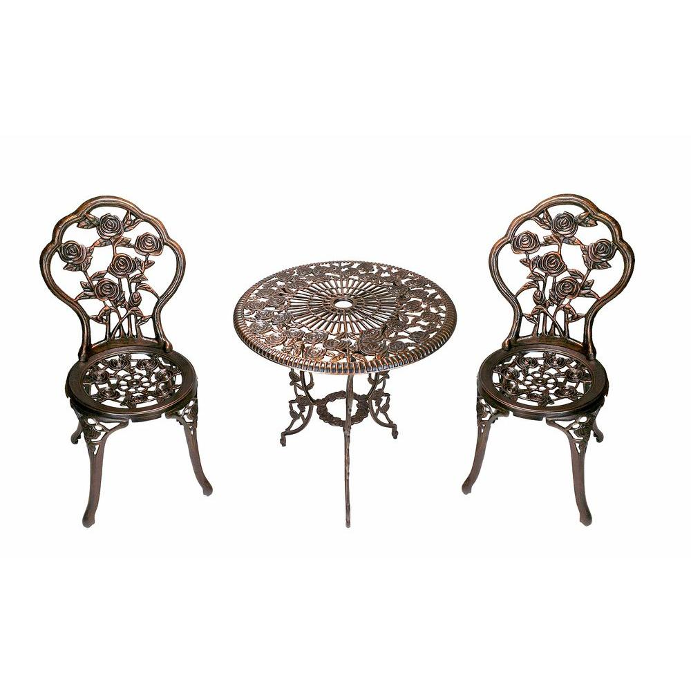 Oakland Living Rose 3 Piece Patio Bistro Table Set
