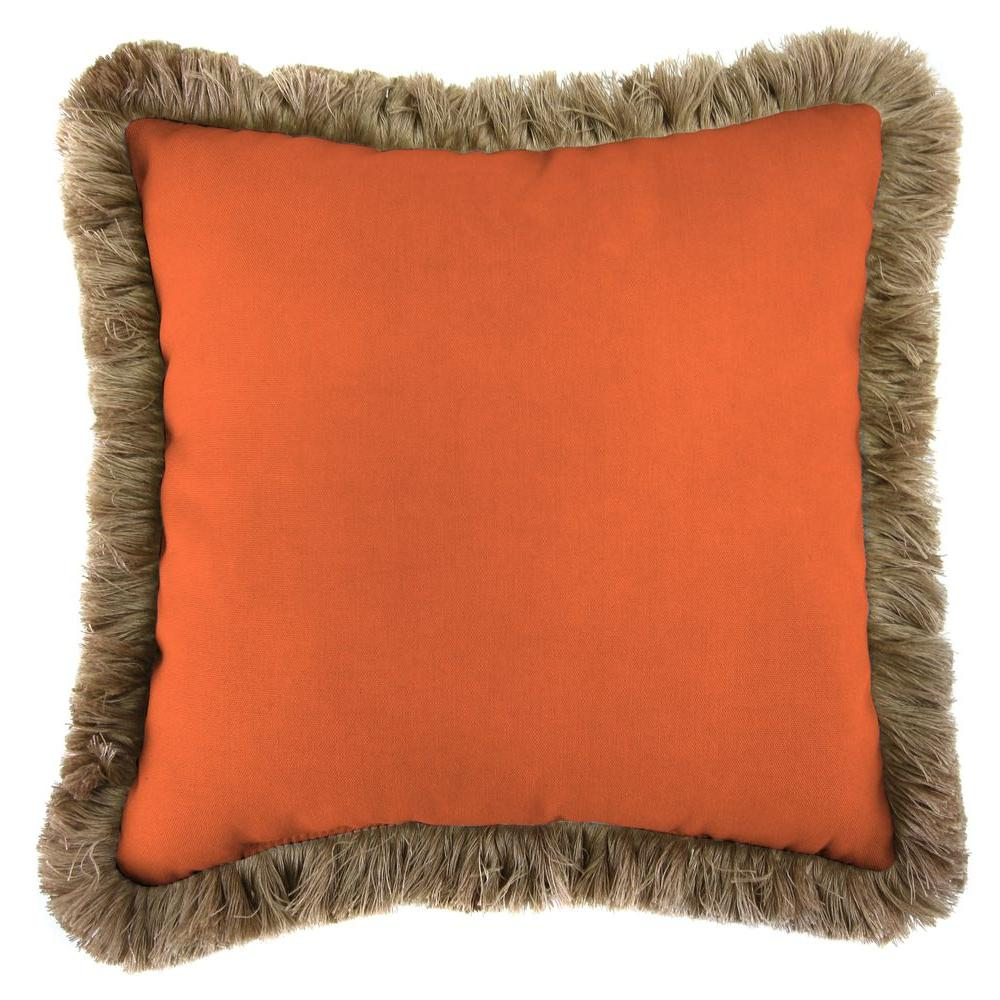 Sunbrella Canvas Tuscan Square Outdoor Throw Pillow with Heather Beige Fringe