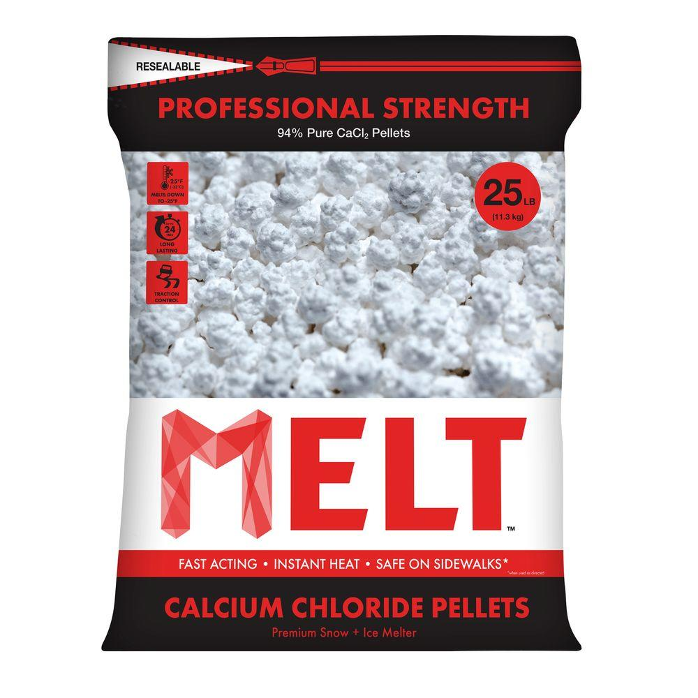 25 lb. Professional Strength Calcium Chloride Pellets Ice Melter - Re-Sealable